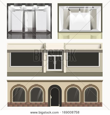 Icons set of showcases stores. Vector glass cases of shops, exterior front view. Modern shopfront and facade of boutique. Flat illustrations isolated on white background.