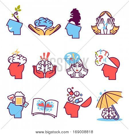 Flat icons set of psychotherapy. Vector mental health, psychology, mind and intelligence symbols: brain, human head, medical therapy. Creative logo for help and treatment problem and disorder.