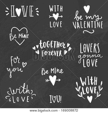 Cute love signs. Chalk on a blackboard. Vector hand drawn illustration