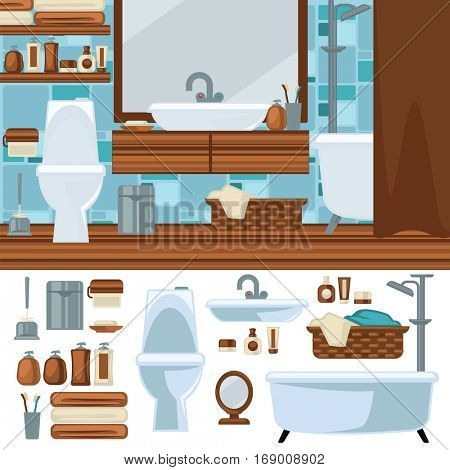 Bathroom interior design. Accessories and furniture set. Elements for bathroom bath, toilet and shower, mirror and sink. Flat style. Vector illustration isolated