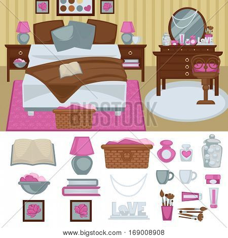 Woman bedroom interior with furniture. Room with bed and boudoir, table and mirror, chair and lamp. Pink bedroom girl design. Flat style. Vector illustration