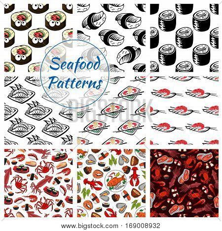 Japanese seafood patterns. Vector seamless set of sushi rolls and sashimi, shrimp or fish tempura food, steamed rice and salmon caviar or tuna with squid and noodle seaweed miso soup, wasabi, soy sauce and chopsticks for oriental cuisine restaurant