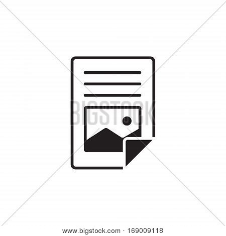 Vector icon or illustration showing web site content with with text file and picture in one balck color