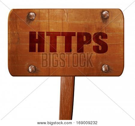 https, 3D rendering, text on wooden sign