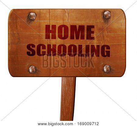 homeschooling, 3D rendering, text on wooden sign