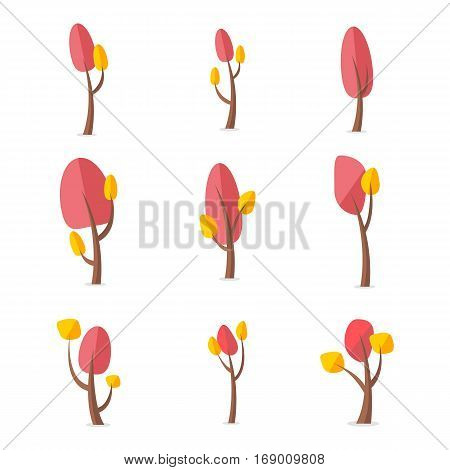 Vector art of tree various style collection stock