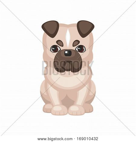 white English bulldog. Vector image of a cute purebred dogs in cartoon style.