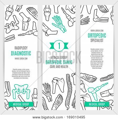 Medical and healthcare banner template set. Human skeleton bones and joints of hand, foot, spine, knee, elbow, pelvis, shoulder and ankle. Orthopedic clinic, radiology diagnostic center design