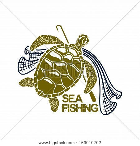Sea or ocean fishing icon with green turtle and fish net snare and harpoon spear or gaff. Vector or emblem for fishery industry or company, fisherman or fisher trip sport or adventure club