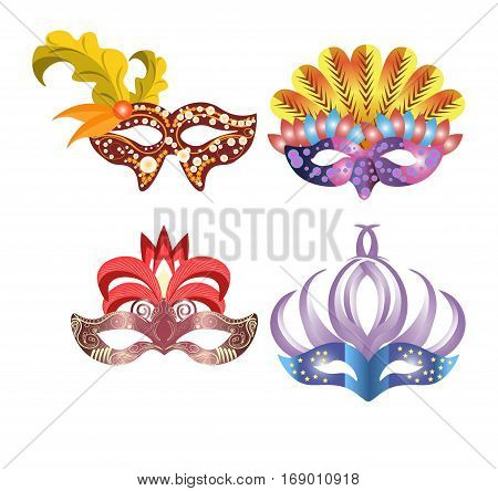 Carnival masks for Venetian masquerade or Mardi Gras festival or party. Vector illustration of isolated masque icons with hand made feather decorations, ornate laces and bead sequins