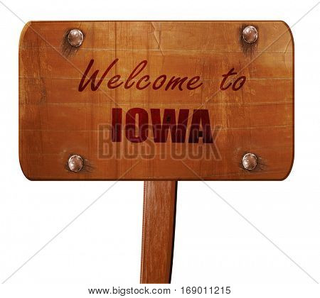 Welcome to iowa, 3D rendering, text on wooden sign