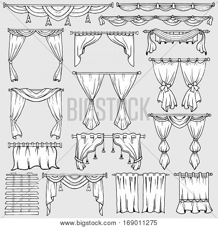 Curtains vector isolated icons. Jalousie or window shades, blinds and shutter drapes. Set of classic and vintage portiere drapery with laces and ties for home decor design