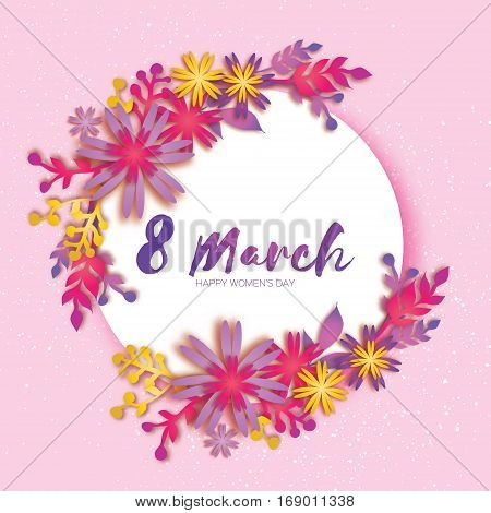 8 March. Happy Mother's Day. Pink Paper cut Wreath Floral Greeting card. Origami flower holiday. Circle Frame, space for text. Happy Women's Day. Trendy Design Template. Vector illustration