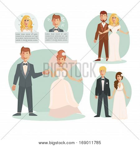 Newlyweds bride and groom in wedding dress in suit on bridal ceremony. Just married couple of man and woman holding hand in hand in love hearts. Vector illustration templates