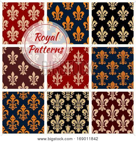 Fleur-de-lis or royal french lilly heraldic flower seamless patterns set. Fleur-de-lys backdrop for interior design. Imperial ornate motif tiles. Vector floral ornament or flourish tracery and flowery embellishment