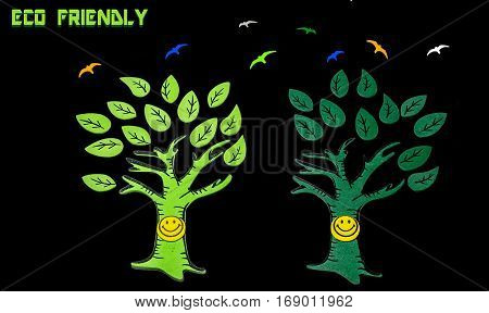 Child creativity on ecology environment concept with trees and flying birds made from paper cut outs isolated in black background.