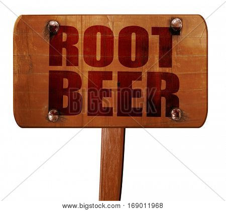 root beer, 3D rendering, text on wooden sign