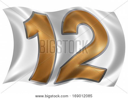 In The Wind Fluttering The Flag With Numeral 12, Twelve, Isolated On White Background, 3D Render