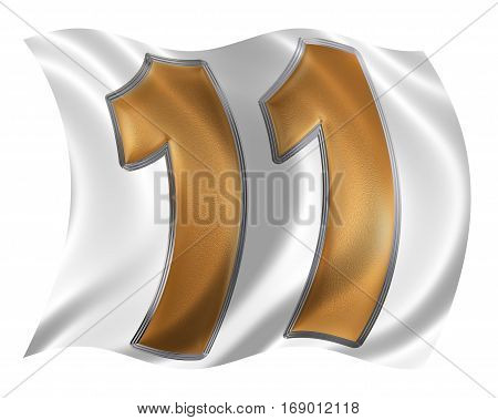 In The Wind Fluttering The Flag With Numeral 11, Eleven, Isolated On White Background, 3D Render