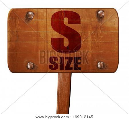 s size, 3D rendering, text on wooden sign