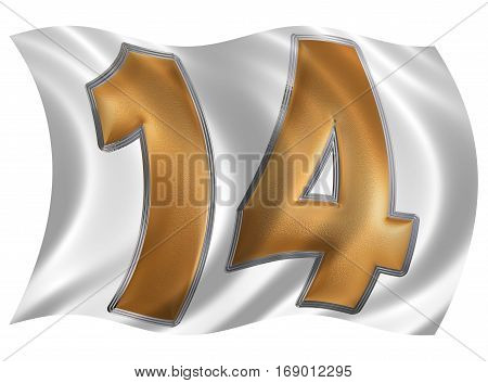 In The Wind Fluttering The Flag With Numeral 14, Fourteen, Isolated On White Background, 3D Render