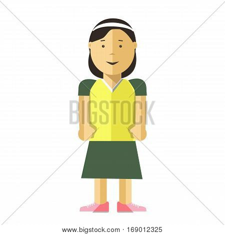 Woman or young girl flat illustration. Vector isolated character of asian or caucasian adult or adolescent female teenager person with black hair in skirt and shirt