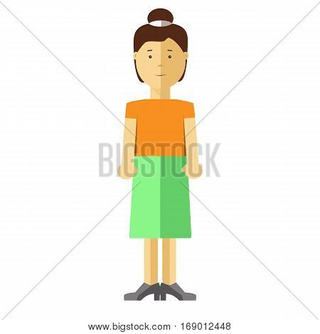 Woman or young girl flat illustration. Vector isolated character of asian or caucasian middle age adult or adolescent female teenager person with black hair in dress