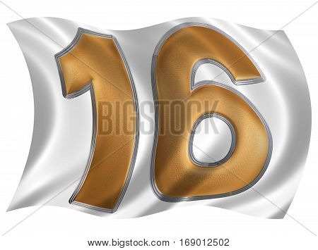 In The Wind Fluttering The Flag With Numeral 16, Sixteen, Isolated On White Background, 3D Render