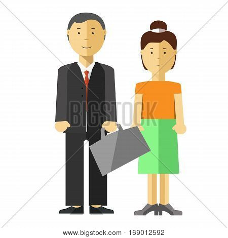 Man and woman family couple vector flat illustration. Wife in casual dress and husband businessman worker or manager of middle age with paper bag in suit. Asian or caucasian isolated characters