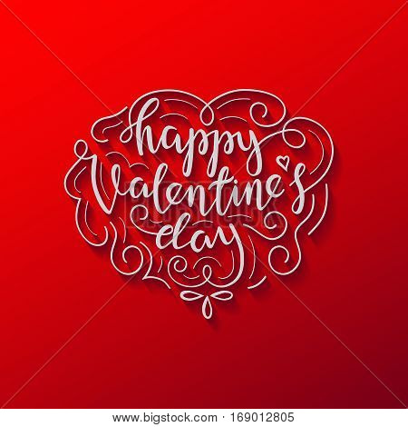 Happy Valentines Day Lettering Card. White letters with ornament on red background. Postcard print template.