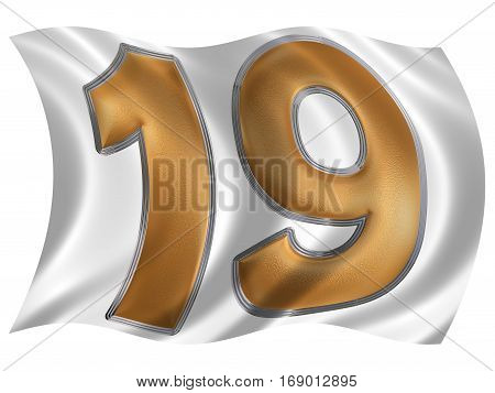 In The Wind Fluttering The Flag With Numeral 19, Nineteen, Isolated On White Background, 3D Render