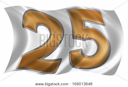 In The Wind Fluttering The Flag With Numeral 25, Twenty Five, Isolated On White Background, 3D Rende