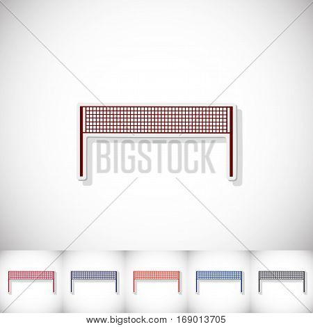 Volleyball grid. Flat sticker with shadow on white background. Vector illustration