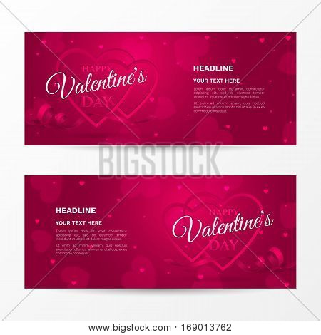 """Vector set of horizontal romantic banners for """"Happy Valentine's day"""" with frames of shaped heart, ribbon and confetti. Holiday pink background for flyers with hearts and place for text."""