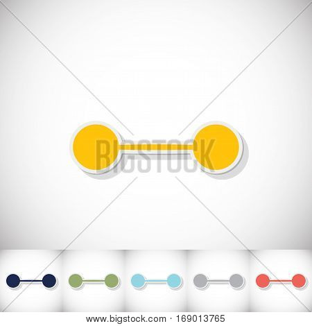 Athletic barbell. Flat sticker with shadow on white background. Vector illustration