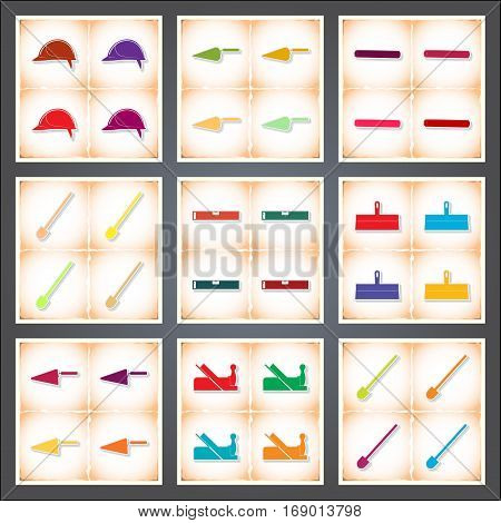 Construction. A set of flat stickers with shadow on old paper. Vector illustration