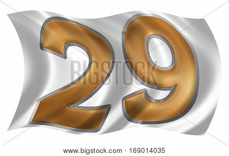 In The Wind Fluttering The Flag With Numeral 29, Twenty Nine, Isolated On White Background, 3D Rende