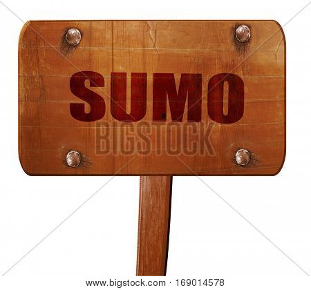 sumo sign background, 3D rendering, text on wooden sign