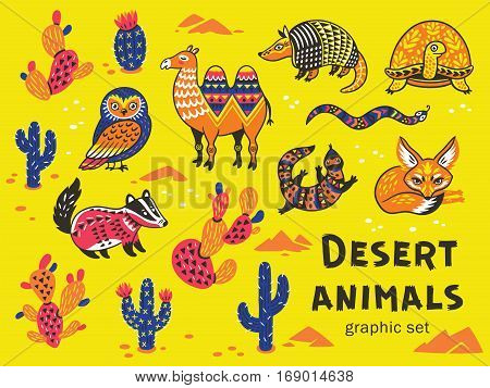Collection of desert animals with ethnic, tribal ornaments. Vector illustration. Cute characters for children is design