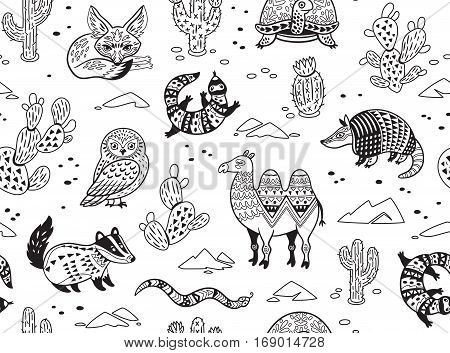 Outline seamless pattern of desert animals with ethnic, tribal ornaments. Vector ornamental illustration in ethnic, tribal style for children coloring pages