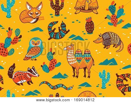 Seamless pattern of desert animals with ethnic, tribal ornaments. Vector illustration. Funny cartoon character.