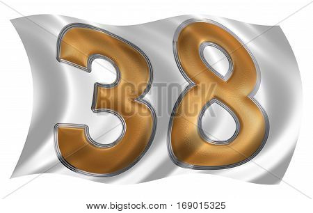 In The Wind Fluttering The Flag With Numeral 38, Thirty Eight, Isolated On White Background, 3D Rend