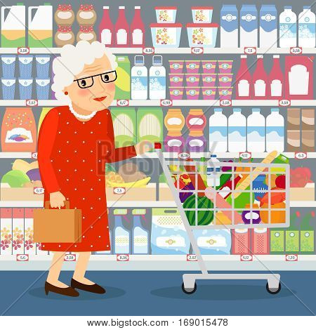 Grandmother shopping vector illustration. Old lady with shopping cart and the store shelves with diary products, fruits and household chemicals