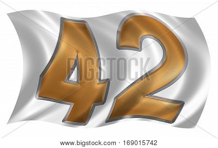 In The Wind Fluttering The Flag With Numeral 42, Forty Two, Isolated On White Background, 3D Render