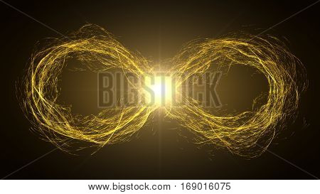endless loop of moving energy particles. infinity symbol with energy trails. yellow version.
