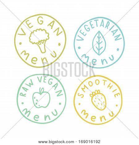 Vegan, vegetarian, raw smoothie menu badges. Vector hand drawn illustration