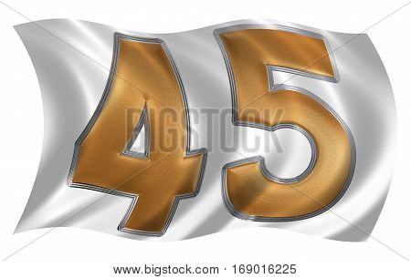 In The Wind Fluttering The Flag With Numeral 45, Forty Five, Isolated On White Background, 3D Render