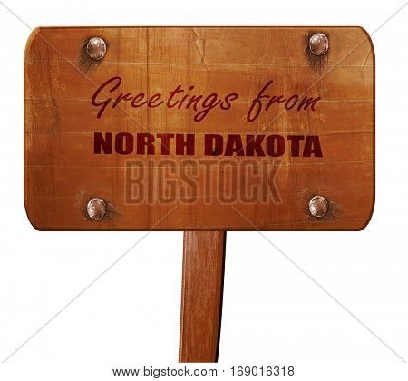 Greetings from north dakota, 3D rendering, text on wooden sign