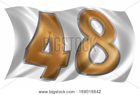 In The Wind Fluttering The Flag With Numeral 48, Forty Eight, Isolated On White Background, 3D Rende