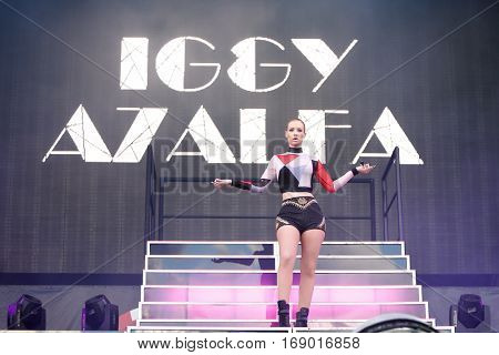 LAS VEGAS-SEP 20: Singer Iggy Azalea performs in concert at the 2014 iHeartRadio Music Festival Village Show at MGM Resorts Village on September 20, 2014 in Las Vegas, Nevada.